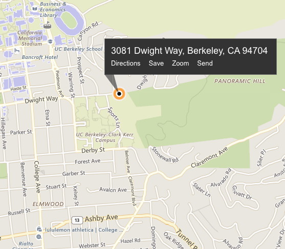 meet at the bottom of Panorama Hill, 3081 Dwight Way, Berkeley, CA 94704